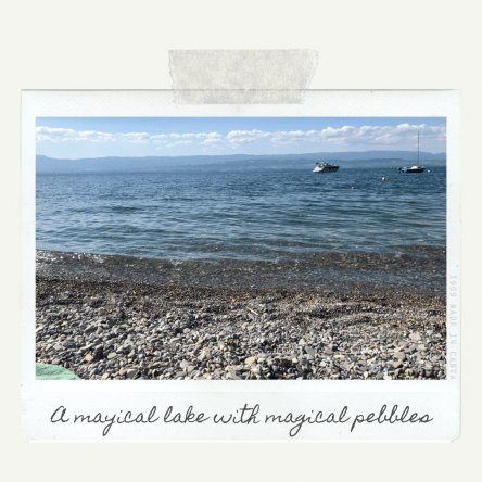 A magical lake with magical pebbles!