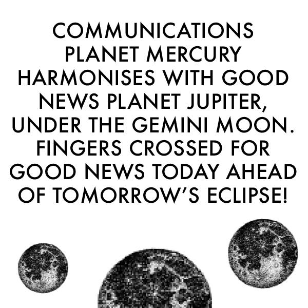 Communications plant Mercury harmonises with Good news planet Jupiter